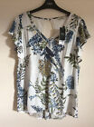 Women's White Floral Crinkle Blouse, Summer Top, Size 6 & 12, BNWT