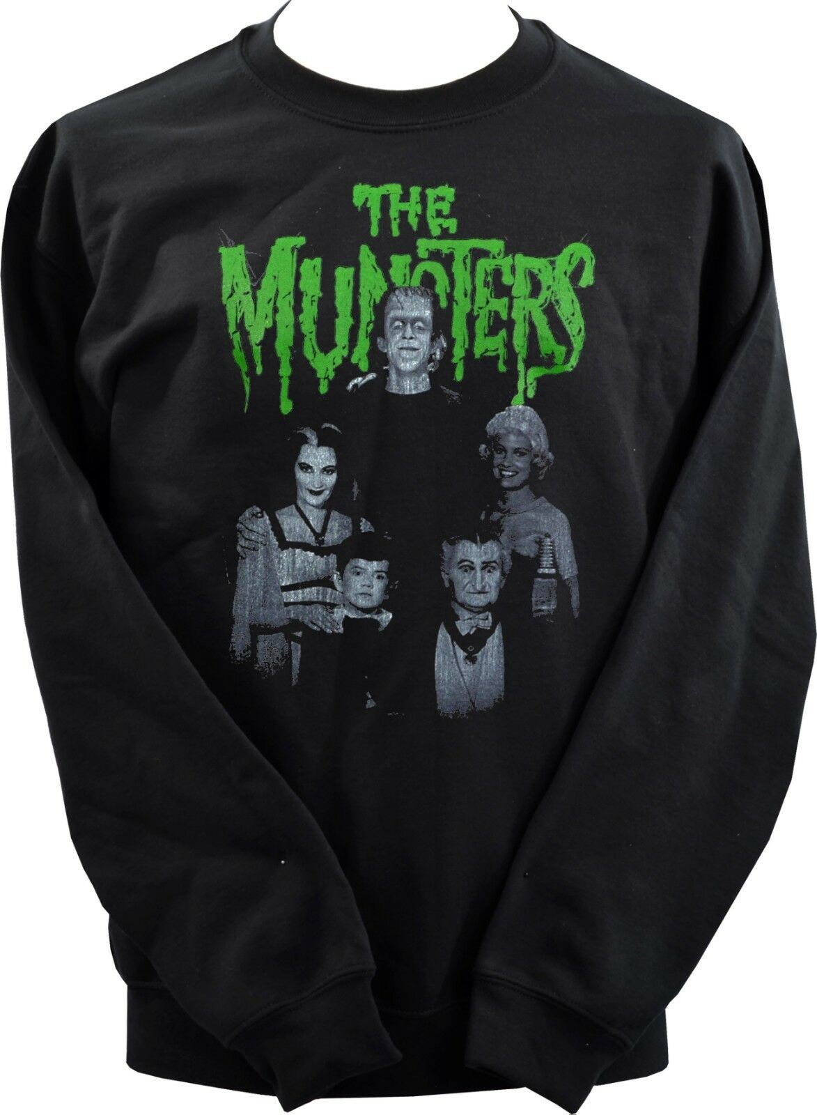 UNISEX BLK SWEATSHIRT MEET THE MUNSTERS VINTAGE B-MOVIE HORROR WOLF GOTH XS-7XL