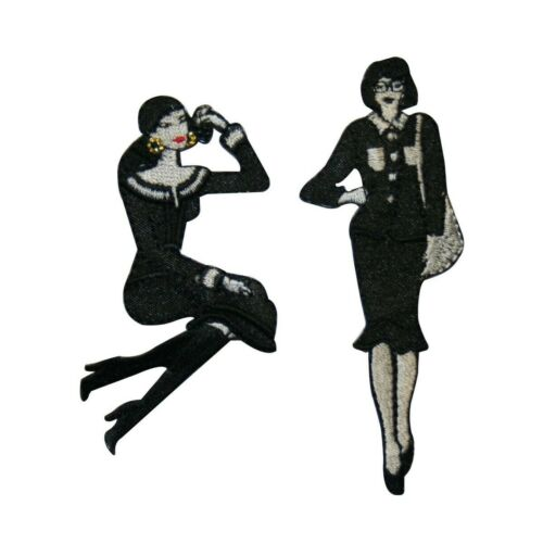 ID 3427AB Set of 2 Black and White Fashion Lady Patch Noir Embroidered Iron On
