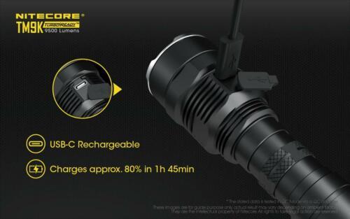 Nitecore TM9K Type-C DEL rechargeable lampe de poche 9500 Lu 9 x CREE XP-L V6 HD