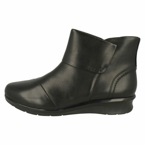 Ladies Clarks Hope Track Leather Casual Wedge Heel Ankle Boots E Fitting