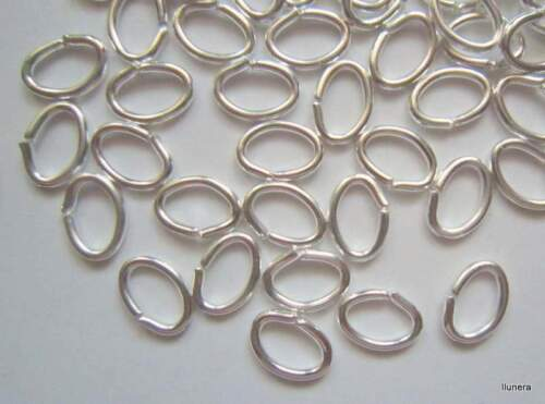 Anillas baño de plata 6 x 4 x 0,7 mm circulares abierta X 120 UNIDADES abalorios