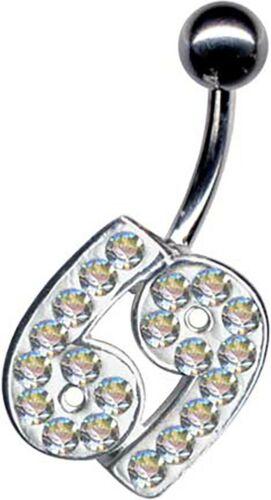 ECHTSILBER 925 Bauchnabelpiercing TITAN G23 /& EPOXY Kristalle Bauchnabel Echt