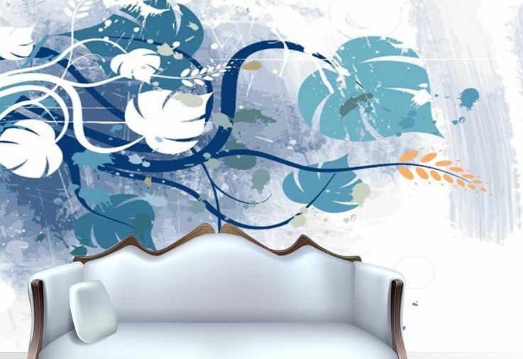 3D bluee Maple Leaf Pattern Paper Wall Print Wall Decal Wall Deco Indoor Murals