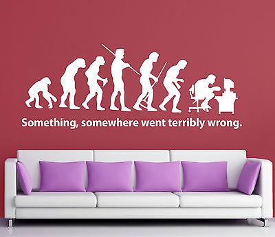 WALL STICKERS ADESIVI MURALI Evolution man pc DESIGN parete casa frase decoro