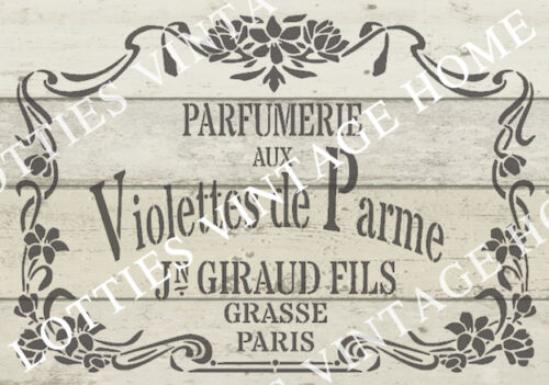 A4 FRENCH STENCIL Violettes de Parme ❤ FRENCH Fabric Furniture Vintage 190 MYLAR