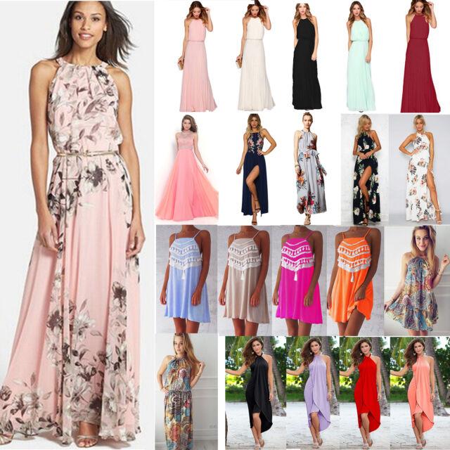 Women Summer Floral Halter Maxi Long Dress Evening Party Beach Holiday Sundress