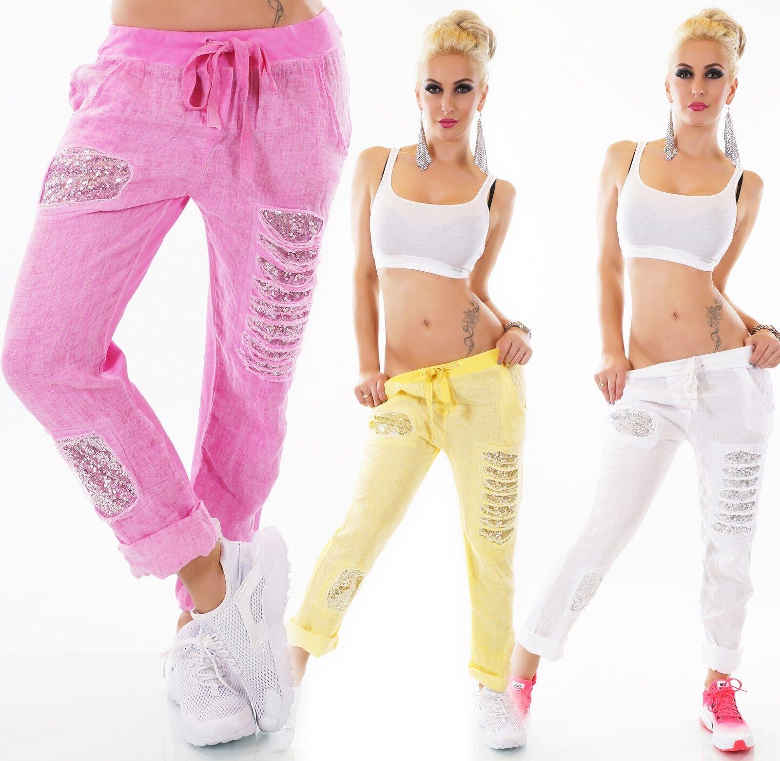 women Italia Pantaloni Lino Jogpants Mix Ragazzo Larghi Brandelli Paillettes