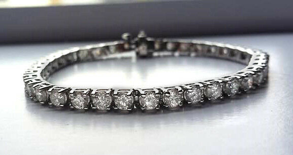 10.10 ct F VS2 round diamond 4 prong classic tennis bracelet 14k white gold 7