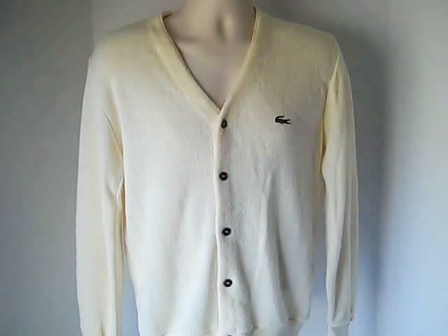 Izod  Lacoste  M  Mens  Cream  Sweater 100% Orlon Acrylic USA Union Made