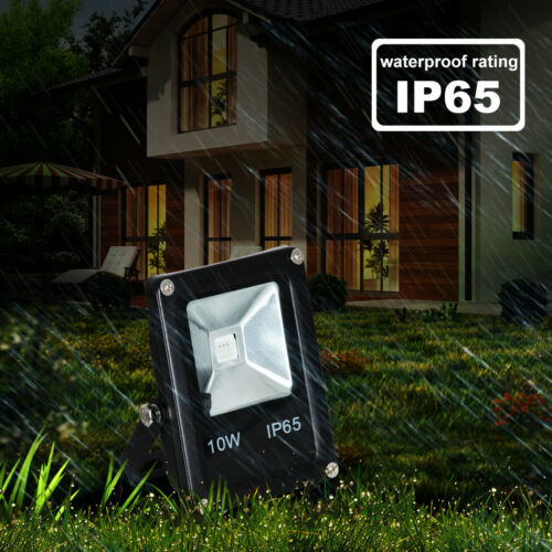 10W LED RGB Floodlight Spotlight Remote Memory Dimmable Outdoor Garden IP65 Plug