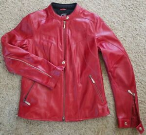 Hein Gericke Womens Leather La Jolla Motorcycle Jacket Red Size 8