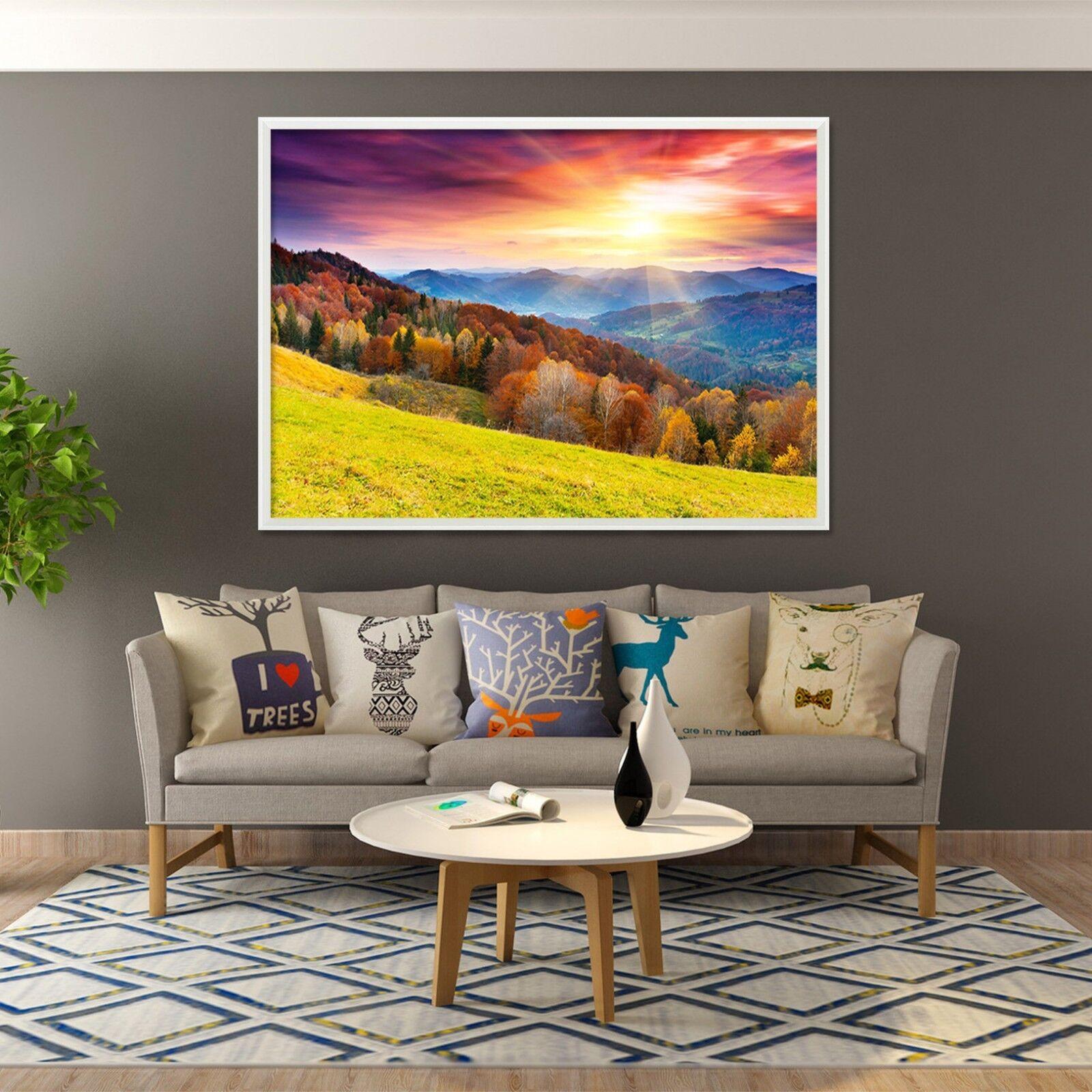 3D puesta de sol montaña 1 Póster Enmarcado Decoración del Hogar Pintura de Impresión Arte AJ Wallpaper