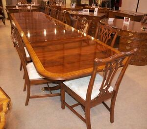 Image Is Loading Mahogany Dining Table Extending Regency Pedestal Tables 16