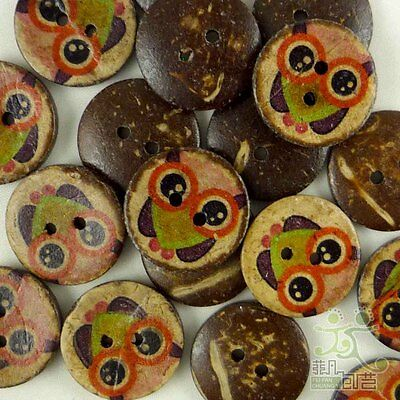 20 pcs Brown Owl Coconut Round Buttons 20MM Craft/Kids Sewing Scrapbook
