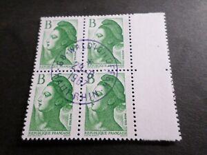FRANCE BLOC timbres 2483 LIBERTE' DELACROIX, oblitéré 1987 cachet rond, QUARTINA