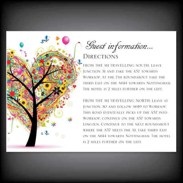 LUXURY Quality Personalised Wedding Guest Information Cards + Envelopes Stylish