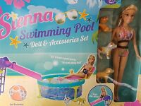 Sienna (barbie Type Doll) Swimming Pool, Play Set Doll And Accessories 3 Puppies