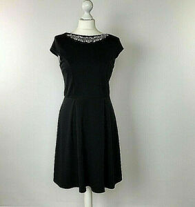 Dorothy-Perkins-Black-Skater-Dress-UK-Size-12-Diamantee-Party-Holiday