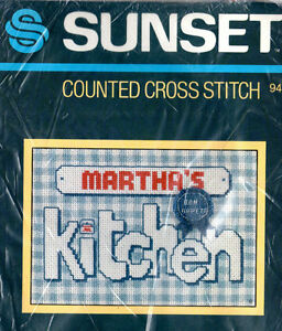 Details About 1983 Sunset Counted Cross Stitch 942 Blue Ribbon Kitchen 5 X 7 Frame Size