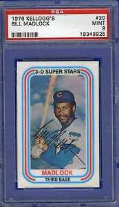 1976-Kellogg-039-s-baseball-card-20-Bill-Madlock-Chicago-Cubs-graded-PSA-9-MINT
