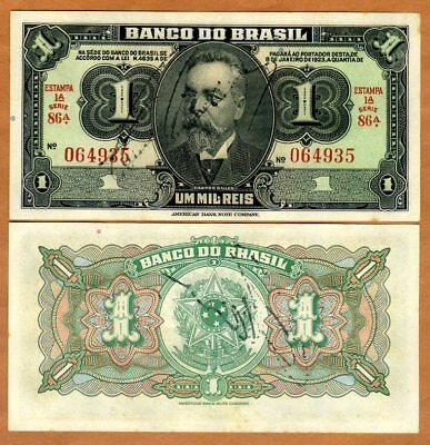 Brazil, 1 Mil Reis, ND (1919) P-6, Hand Signed, UNC > 100 years old