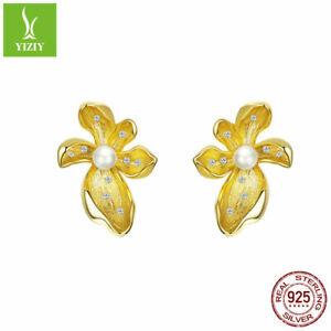 Authentic-925-Sterling-Silver-Earrings-Gold-Plated-Flower-Ear-Stud-Pearl-Women