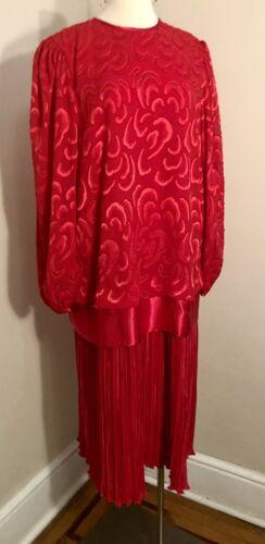 Vtg JOAN DAVIES Red 80s Party Dress Drop Waist Cro