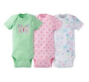 Gerber-Baby-Girls-3-Pack-Butterfly-Onesies-Bodysuits-Size-0-3M-BABY-CLOTHES-GIFT