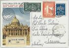 VATICANO : STORIA POSTALE - Intero Postale - raccomandata 1958