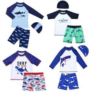Boys Kids Shark Swimsuit Swimwear Outfit 3Pcs UV Sun Protection Swimming Costume