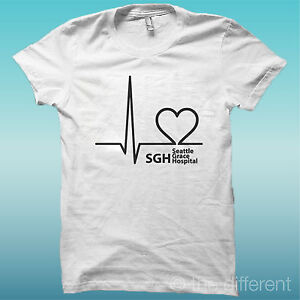 "T-SHIRT "" SIMBOLO LOGO OSPEDALE GREY'S ANATOMY "" IDEA REGALO ROAD TO HAPPINESS"