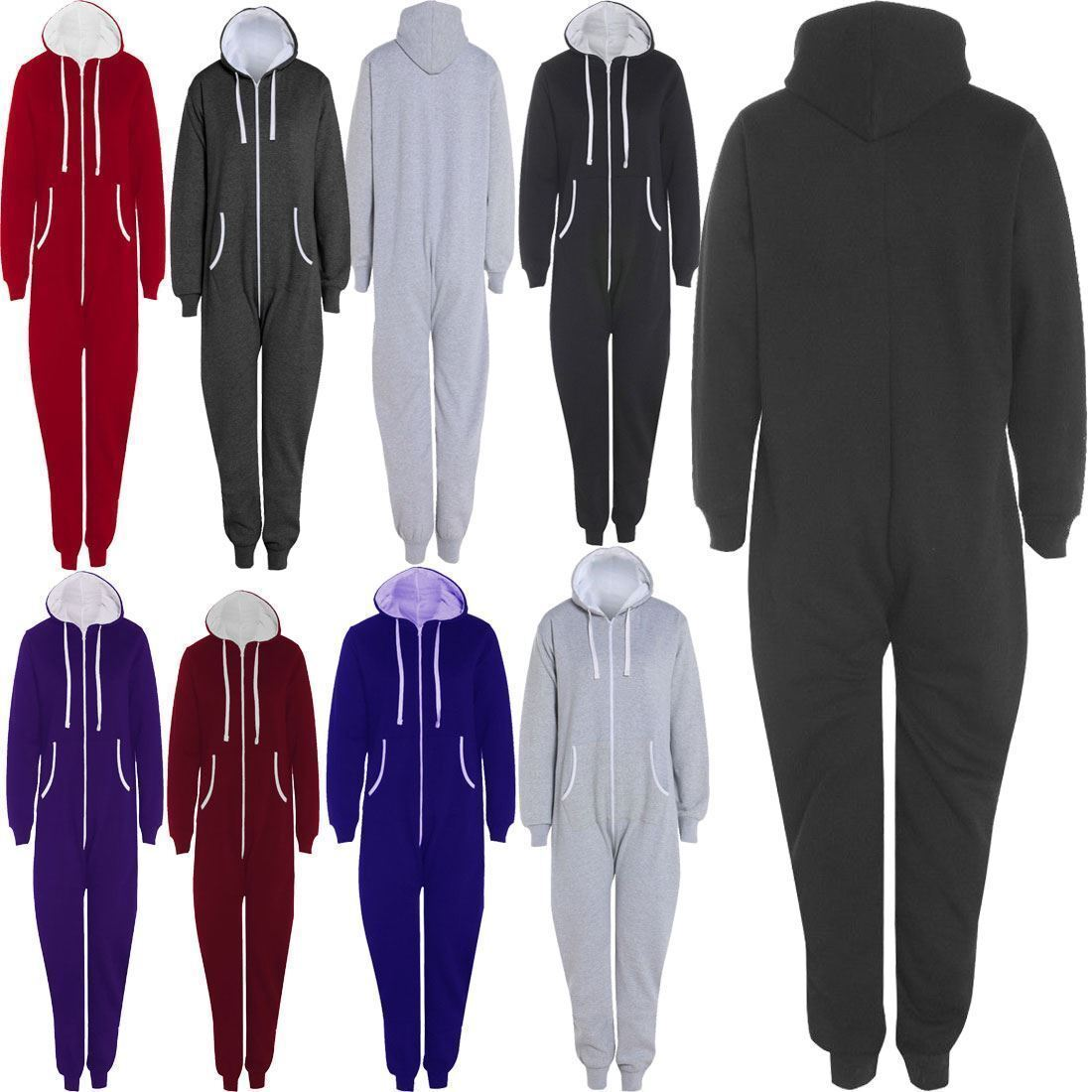 Unisex Zip Up Onsie1 Hooded Playsuit Adults Thermal All In One Sports Jumpsuit