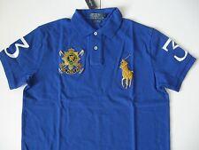 POLO RALPH LAUREN Men's Black Watch Custom-Fit Royal Blue Mesh Polo L