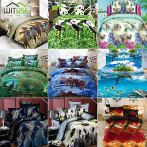 3D-Bedding-Set-Animal-Printed-Quilt-Duvet-Cover-Pillow-Case-Twin-Queen-Size-AE9