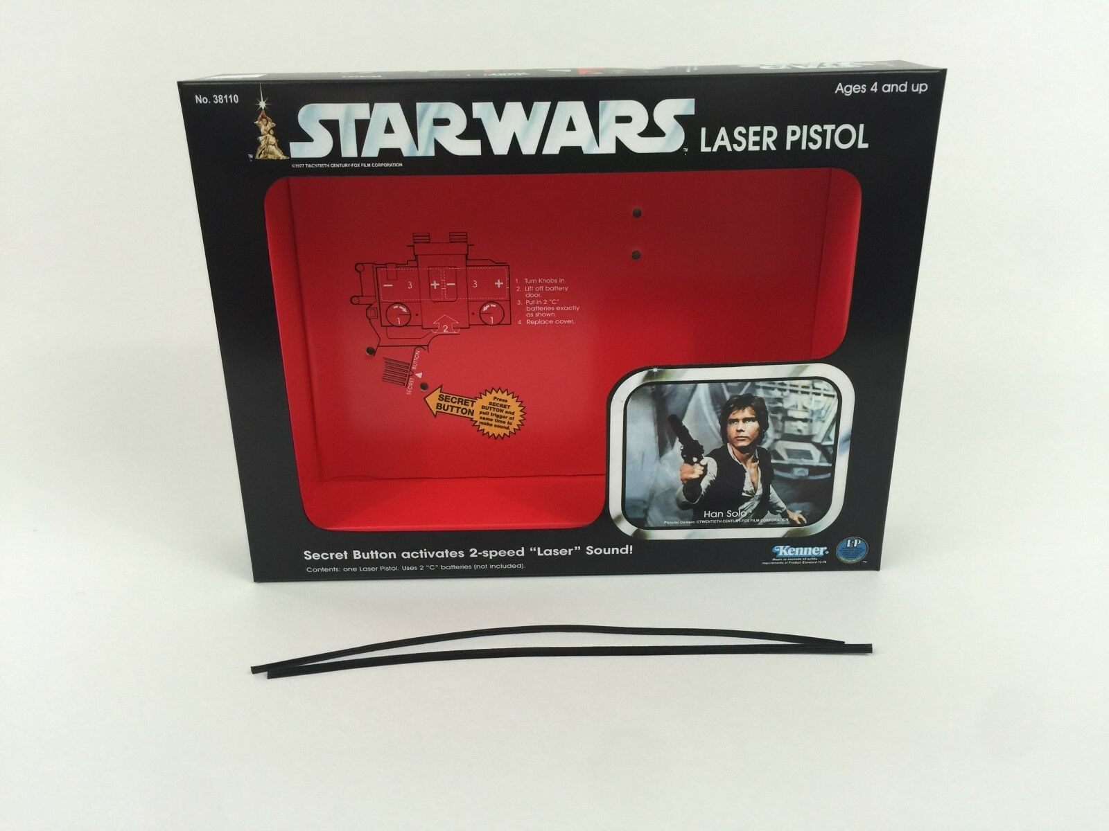 Replacement vintage star wars han solo laser pistol box and inserts