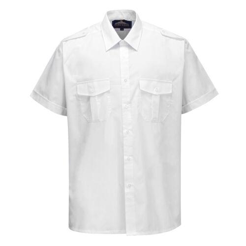 Portwest uomini S101 Pilota Camicia bianca varie dimensioni S101