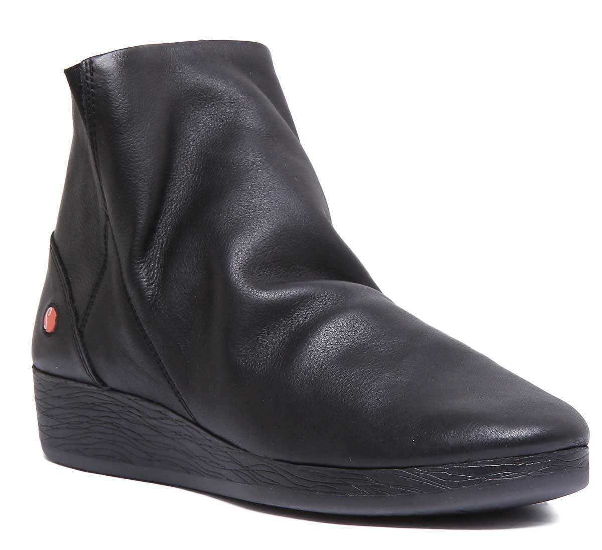 Softinos Ayo 411 Womens Womens Womens Soft Leather Black Ankle Boots UK Size 3 - 8 a34fd8