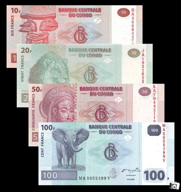 A Set of 4 PCS Congo 10,20,50,100 Francs Banknotes   UNC