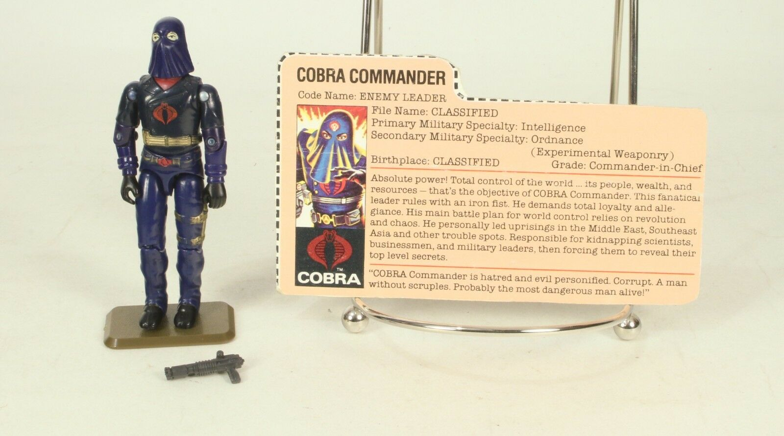 Vintage GI Joe Loose ARAH Cobra Commander Hooded Complete & Original File Card
