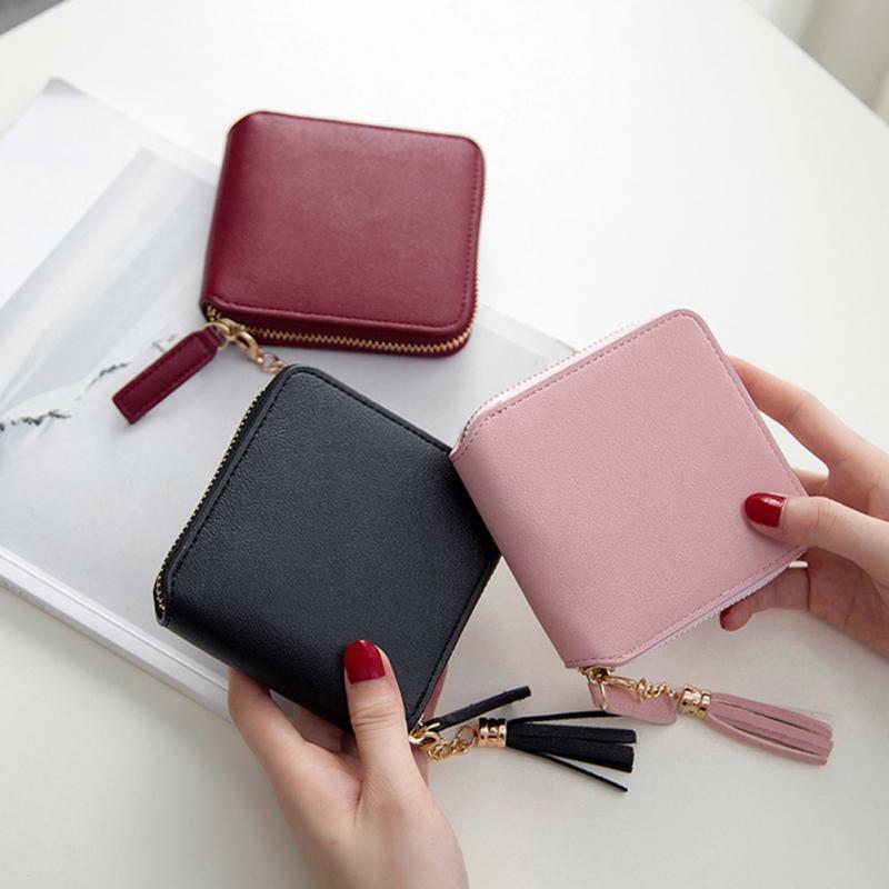 Female Money Wallets Lady Wallet Mini Handbag Leather Women's Purses Coin Clamps