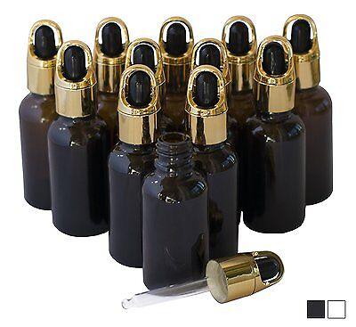 1oz Amber Glass Bottles Eye Dropper Pack of 12 BLACK/WHITE