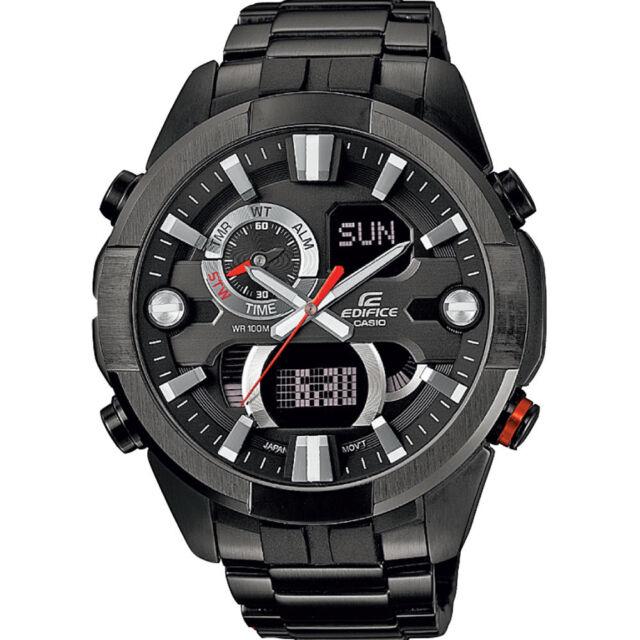 Edifice ERA201BK-1A. Tough Vibration Resist Mens Black Steel Chronograph Watch.