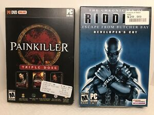 PC CD-Rom Game Bundle Lot 2 Games Painkiller & Riddick
