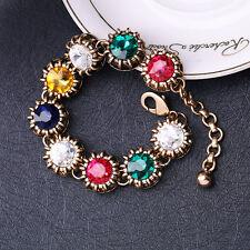 Bracelet Doré Multicolore Cristal Rouge Bleu Vert Jaune Class Retro Mariage CT9
