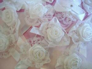 40-White-Lace-amp-Satin-Ribbon-Flower-Applique-Wedding-Floral-Bow-Trim-Craft-F50