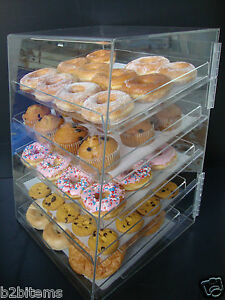 Acrylic-Pastry-Bakery-Donuts-Bagels-Cookie-Display-Case-w-trays-CUPCAKE-stand