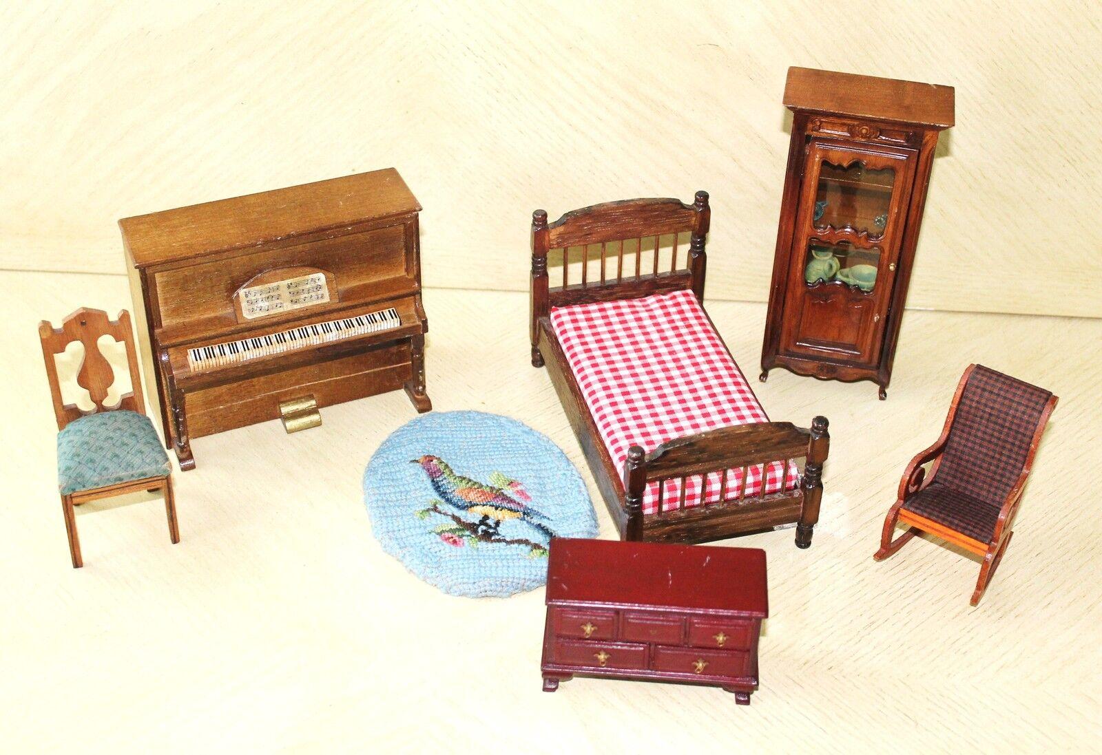 Puppe Spielzeug Holz Miniatur-Möbel Set mit 7 Mehrere Stück Bett Stuhl Teppich