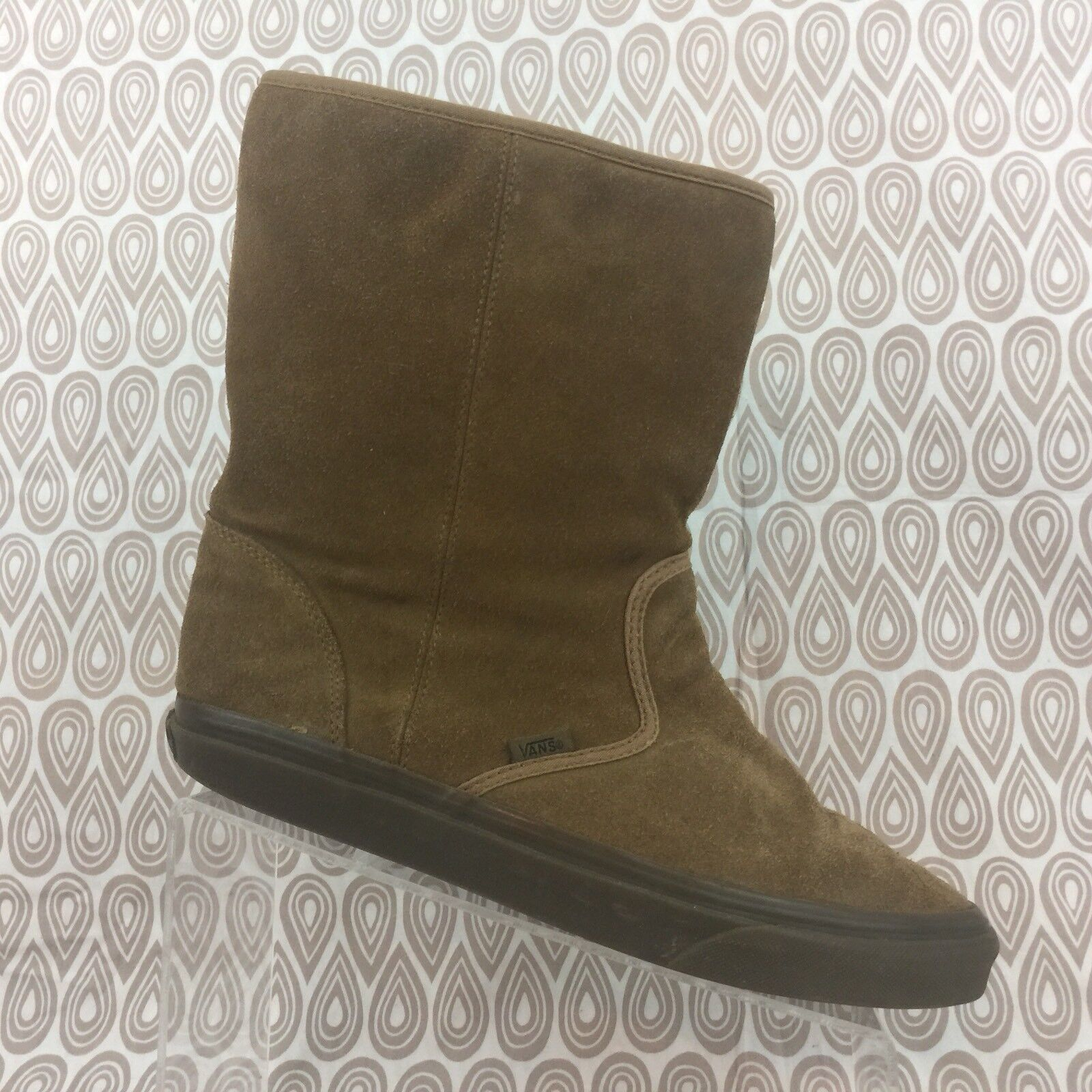 Vans Brown Suede Boots Size 8.5 Men's 10 Women's Slip On Mid Calf Shoes S110