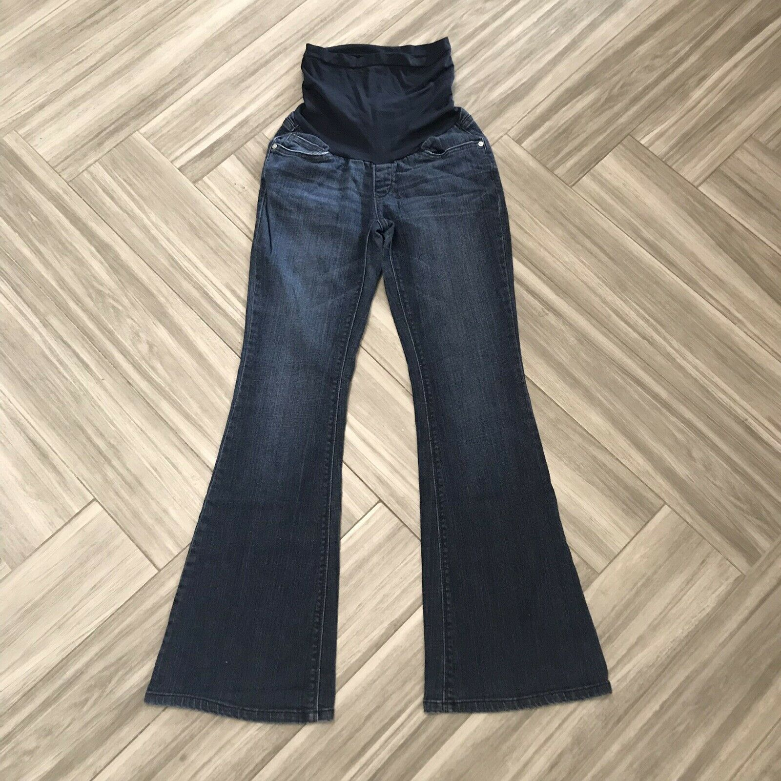 A Pea In The Pod Women's Solid bluee Maternity Flare Jeans Size Small Over Belly